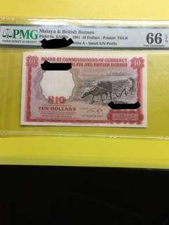 Malaya 1961 $10 UNC note