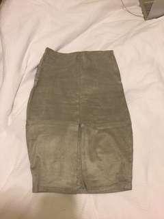Suede feel grey midi skirt