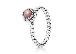 Pandora Pink Opal & Silver October Birthstone Ring