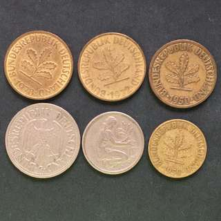 Germany small change 6 pieces of coins selling @ 3$