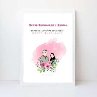 Framed customized potrait couple illustrations