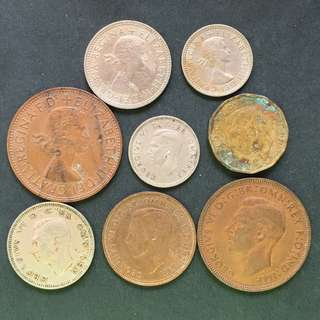 UK England Pre-decimal coins 8 pieces of coins selling @ 8$