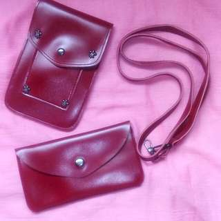 Ladies Kids Pouch and Sling Set Maroon