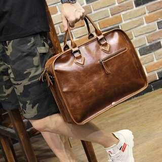 [oppnishop]立體壓邊方形皮革手提包公事包斜背包