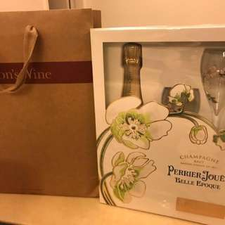 Perrier Jouet Gift Set - Belle Epoque Blanc 2008 and 2 Champagne Flutes