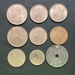 Belgium 9 pieces of coins selling @ 4$