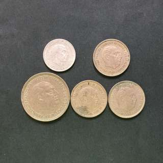 Spain 5 pieces of coins selling @ 2$