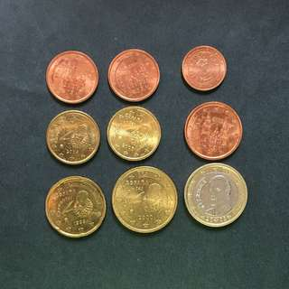 Euro 9 pieces of coins selling @ 2$