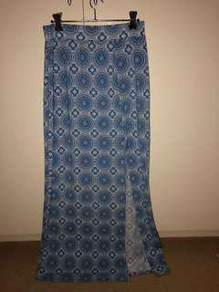 blue summer maxi skirt