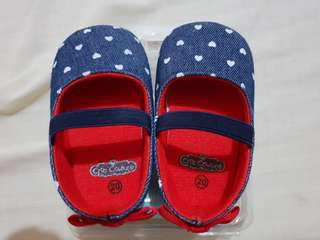 Denim Shoes with Heart Prints