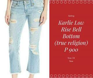 Low Waist Bell Bottom Ripped Pants