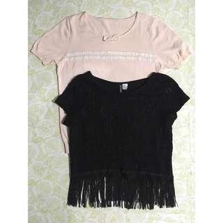 SET: H&M Fringe Top + Pink Ribbed Blouse