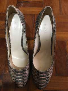 Schu Pink Snakeskin Heels
