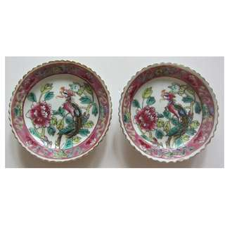 2 Straits Chinese, Peranakan Nonya, White Base Porcelain Plate With Phoenix & Peony Flower.