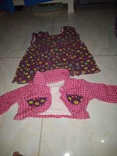 Smile bolero set dress ungu pink