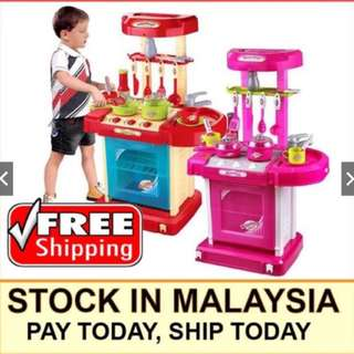 Children Portable Kitchen Toy Play Set Playset