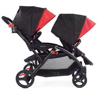 Contours Option Elite Tandem Stroller Black/Red