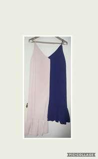 Two Tone Deep V neck dress