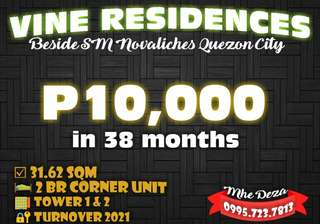 2 Bedroom for Sale beside SM Novaliches Quezon City