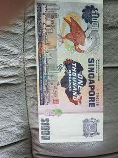 $1000 old singapore dollar note