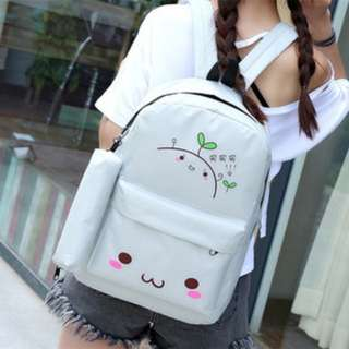 2 in 1 Emoji Backpack with Pouch Set