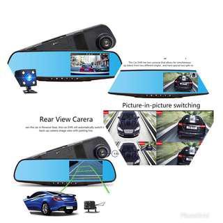 Car DVR Dual Lens Full HD Recorder Rearview Mirror Rear View Camera