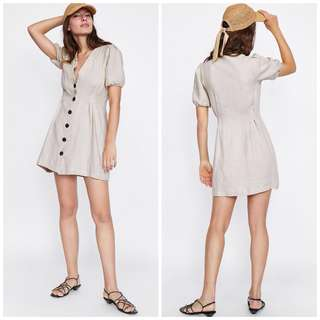 OshareGirl 07 歐美女士純色V領排釦連身洋裝連身裙