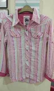Kemeja Garis Pink