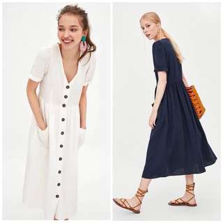 OshareGirl 07 歐美女士純色V領短袖洋裝棉麻連身裙
