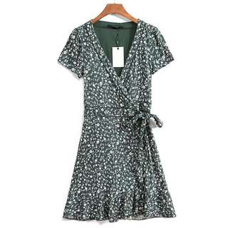 OshareGirl 07 歐美女士花卉印花V領短袖和服綁帶造型連身裙洋裝