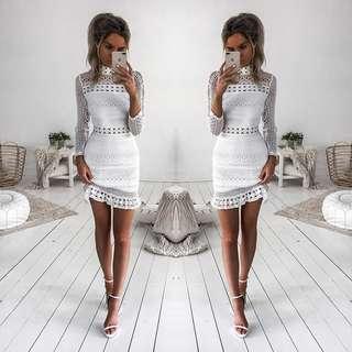 White Lace Pattern Dress Long Sleeve