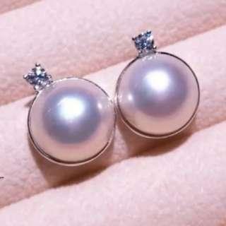 日本天然海水馬貝珍珠925银耳環