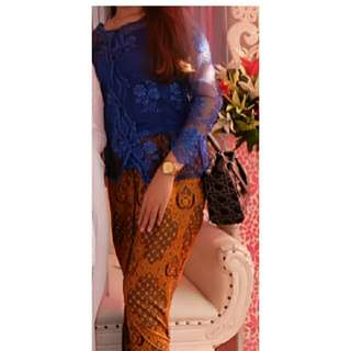 Kebaya 1 set elektrik blue
