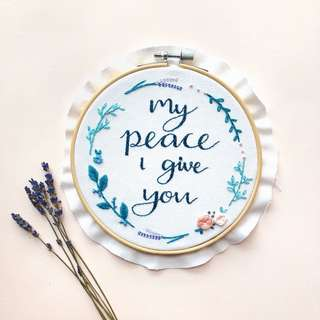 Customised quote floral hoop