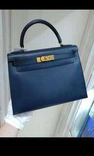 Hermes Kelly 28 Navy blue