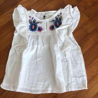 3-4T NEW Zara Embroidered flutter sleeve top Toddler