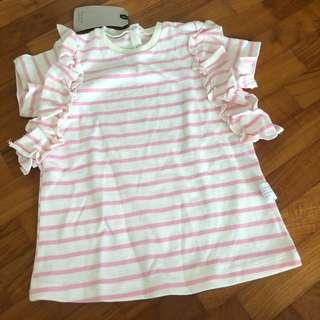 3-4T NEW Striped tee tshirt pink and white toddler flutter