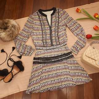 Long Sleeve Geometric Dress