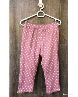 Uniqlo polka dots stretch pants (brand new, tags removed), both Small (fits Ht 110-125cm, Waist 50-56cm) in Pink