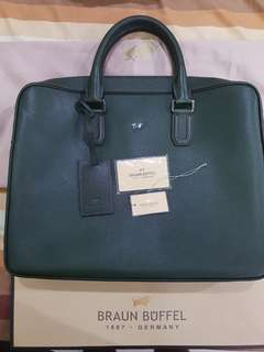 Brand New Braun Buffel Dark Green Leather Briefcase