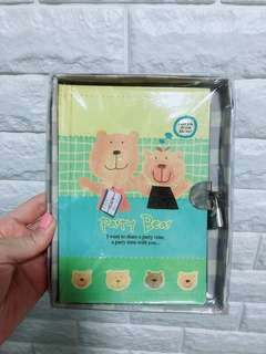 🌸  [$1 SALE] Bear Notebook with lock and key
