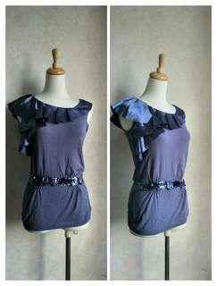 🚚 IROO 名品全新剪標藍色水鑽無袖彈性奢華針織上衣