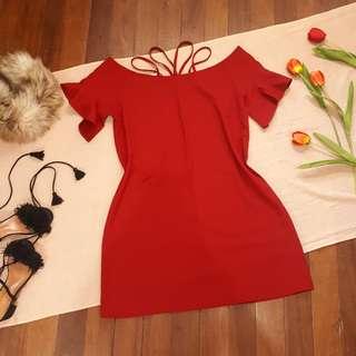 Maroon Cold Shoulders Shift Dress