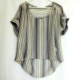 [Large] Sheer Stripes Top