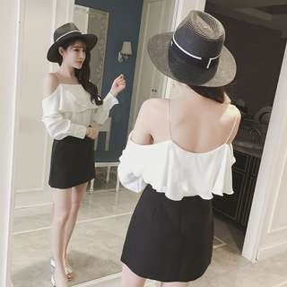 100 % New Arrival Cold Shoulder Long Sleeve Top in White (Free Size)
