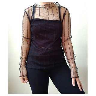 [BN] Sheer Mesh Stripe Goth Punk Long Sleeve Transparent See Through Blouse Shirt Top