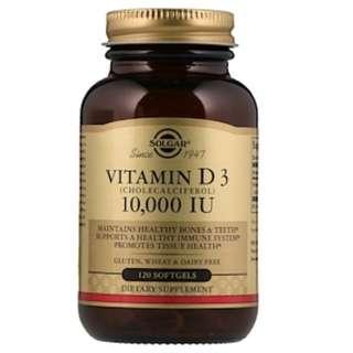 Solgar, Vitamin D3 (Cholecalciferol), 10,000 IU, 120 Softgels