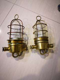 Pair of ship hanging lamps