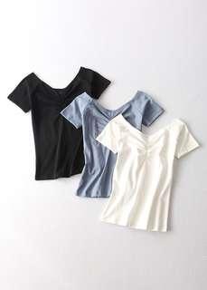 OshareGirl 07 歐美女士純色短袖上衣T恤