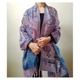 [BN] Genuine Authentic 100% Pashmina Throwover Cover Up Blanket Oversized Winter Spring Autumn Scarf